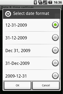 Select Date format